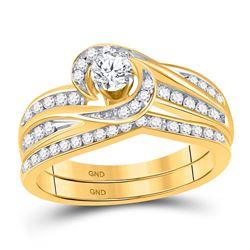 10k Yellow Gold Round Diamond Swirl Bridal Wedding Engagement Ring Band Set 1/2 Cttw