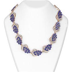 74.37 ctw Sapphire & Diamond Necklace 18K Rose Gold