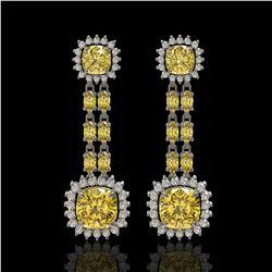 19.46 ctw Citrine & Diamond Earrings 14K White Gold