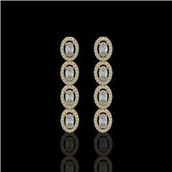 3.84 ctw Oval Cut Diamond Micro Pave Earrings 18K Yellow Gold
