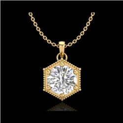 0.82 ctw VS/SI Diamond Solitaire Art Deco Stud Necklace 18K Yellow Gold