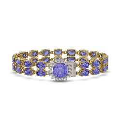 16.96 ctw Tanzanite & Diamond Bracelet 14K Yellow Gold