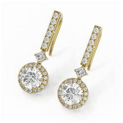 3 ctw Diamond Designer Earrings 18K Yellow Gold