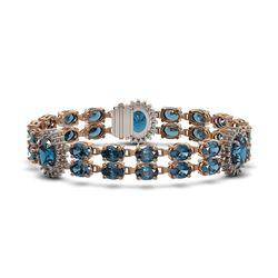 33.49 ctw London Topaz & Diamond Bracelet 14K Rose Gold