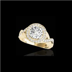 1.75 ctw Certified Diamond Solitaire Halo Ring 10K Yellow Gold