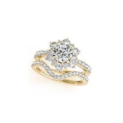 1.31 ctw Certified VS/SI Diamond 2pc Wedding Set Halo 14K Yellow Gold