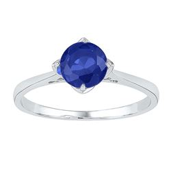 Sterling Silver Round Lab-Created Blue Sapphire Solitaire Ring 1.00 Cttw