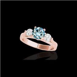 1.50 ctw SI Certified Fancy Blue Diamond 3 Stone Ring 10K Rose Gold
