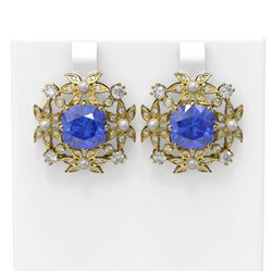 12.73 ctw Tanzanite & Diamond with Pearl Earrings 18K Yellow Gold