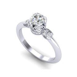 1 ctw VS/SI Diamond Solitaire Art Deco Ring 18K White Gold