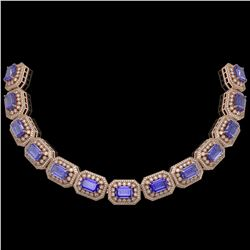 50.67 ctw Tanzanite & Diamond Victorian Bracelet 14K Rose Gold