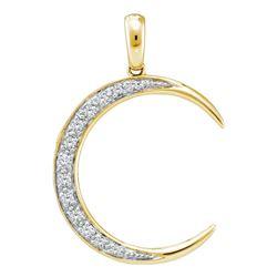 14kt Yellow Gold Round Diamond Crescent Moon Pendant 1/6 Cttw