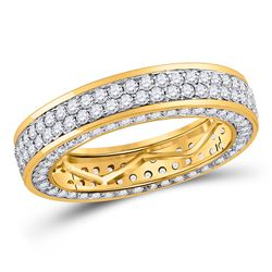 14kt Yellow Gold Mens Round Diamond Double Row Eternity Wedding Band Ring 3.00 Cttw