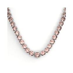 87 ctw Morganite & VS/SI Diamond Necklace 14K White Gold