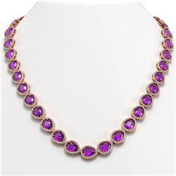 43.2 ctw Amethyst & Diamond Micro Pave Halo Necklace 10K Rose Gold