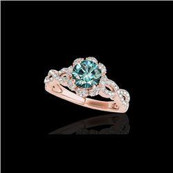1.69 ctw SI Certified Fancy Blue Diamond Halo Ring 10K Rose Gold