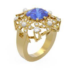 6.41 ctw Tanzanite & Diamond Ring 18K Yellow Gold