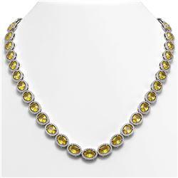46.39 ctw Fancy Citrine & Diamond Micro Pave Halo Necklace 10K White Gold