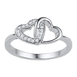 10kt White Gold Round Diamond Double Locked Heart Ring 1/12 Cttw