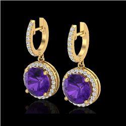 4 ctw Amethyst & Micro Pave VS/SI Diamond Earrings 18K Yellow Gold