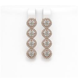 4.52 ctw Cushion Cut Diamond Micro Pave Earrings 18K Rose Gold