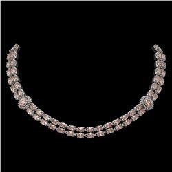 36.2 ctw Morganite & Diamond Necklace 14K White Gold