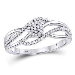10kt White Gold Round Diamond Open Strand Cluster Ring 1/6 Cttw