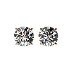 1.52 ctw Certified Quality Diamond Stud Earrings 10K Rose Gold