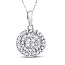 10kt White Gold Round Diamond Circle Cluster Pendant 1/4 Cttw