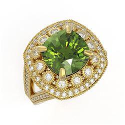 7.07 ctw Certified Tourmaline & Diamond Victorian Ring 14K Yellow Gold
