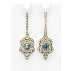 2.74 ctw Intense Blue Diamond Earrings 18K Yellow Gold