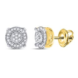 10kt Yellow Gold Round Diamond Fashion Cluster Earrings 1/8 Cttw