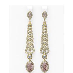 8.26 ctw Morganite & Diamond Earrings 18K Yellow Gold
