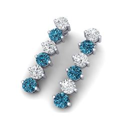 6 ctw Certified SI/I Intense Blue Diamond Earrings 18K White Gold
