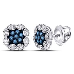10kt White Gold Round Blue Color Enhanced Diamond Cluster Earrings 1/5 Cttw
