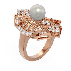 2 ctw Diamond and Pearl Ring 18K Rose Gold
