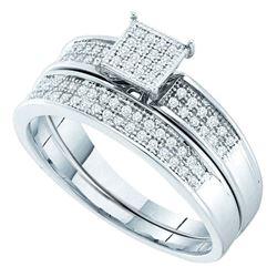 Sterling Silver Round Diamond Bridal Wedding Engagement Ring Band Set 1/5 Cttw