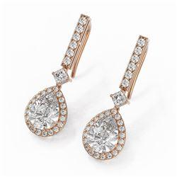 4.25 ctw Pear Cut Diamond Designer Earrings 18K Rose Gold
