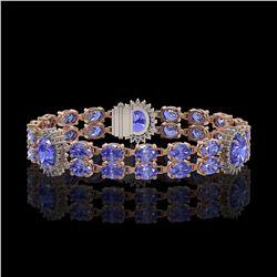 17.83 ctw Tanzanite & Diamond Bracelet 14K Rose Gold