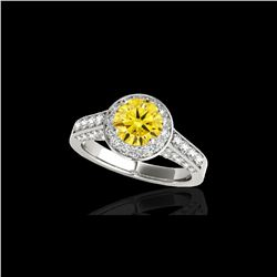 2.56 ctw Certified SI/I Fancy Intense Yellow Diamond Ring 10K White Gold