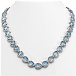 41.6 ctw Aquamarine & Diamond Micro Pave Halo Necklace 10K White Gold