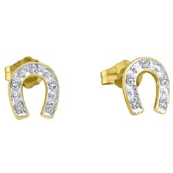 10kt Yellow Two-tone Gold Round Diamond Horseshoe Stud Earrings 1/20 Cttw
