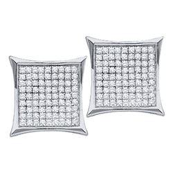 10kt White Gold Round Diamond Kite Cluster Earrings 7/8 Cttw