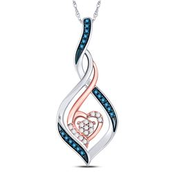 10kt Two-tone Gold Round Blue Color Enhanced Diamond Heart Pendant 1/10 Cttw