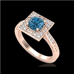 1.1 ctw Intense Blue Diamond Engagement Art Deco Ring 18K Rose Gold
