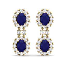 8.98 ctw Sapphire & VS Diamond Earrings 18K Yellow Gold