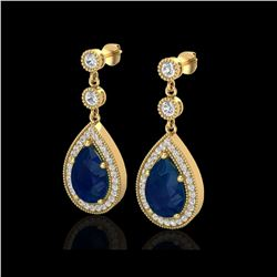 6 ctw Sapphire & Micro Pave VS/SI Diamond Earrings 18K Yellow Gold