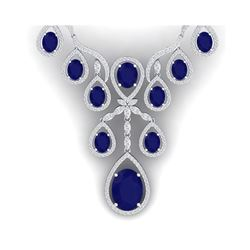 37.66 ctw Sapphire & VS Diamond Necklace 18K White Gold