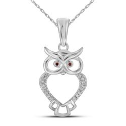 10kt White Gold Round Red Color Enhanced Diamond Owl Bird Animal Pendant 1/20 Cttw