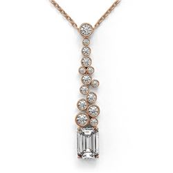 1.2 ctw Emerald Cut Diamond Designer Necklace 18K Rose Gold